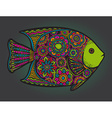 Beautiful colorful hand drawn fish vector image