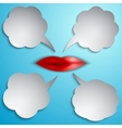 speech bubble set with lips vector image