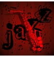saxophone on musical background vector image