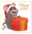 a small funny mouse with a large round red gift vector image vector image