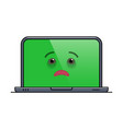 ailing laptop computer isolated emoticon vector image vector image