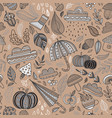 autumn seamless pattern brown background vector image