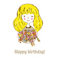 birthday card with girl and flowers for child vector image vector image