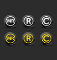 black registred icons vector image vector image