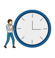 businessman with round clock vector image