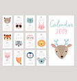 calendar 2019 cute monthly calendar with animals vector image vector image