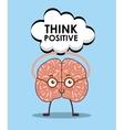 cartoon brain icon vector image vector image