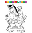 coloring book animals in car vector image