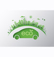 concept of eco car and environment vector image vector image