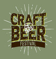 craft beer festival typographic label design with vector image vector image