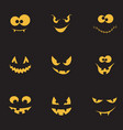 creepy faces set vector image