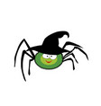 cute funny green cartoon spider wearing witch hat vector image