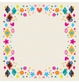cute hearts stars flowers and diamond shapes frame vector image vector image