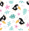 cute seamless pattern with a funny toucan vector image