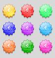 Cyclist icon sign symbol on nine wavy colourful vector image vector image