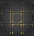 decorative gold frames and borders square set vector image vector image