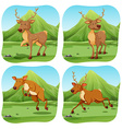 Deers in four different scenes vector image vector image