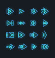 directional neon arrows pointers orientation vector image vector image