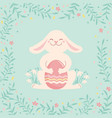 easter rabbit and color egg cute bunny vector image
