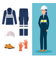 female mechanic worker with equipment vector image vector image