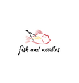 fish and noodles vector image