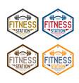 fitness station vintage labels set with dumbbell vector image