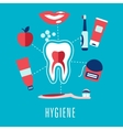 Flat dental hygiene concept in blue background vector image vector image