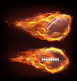 flying rugball in fire vector image vector image