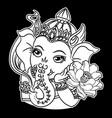 ganesha drawing om symbol tattoo icon on black ba vector image