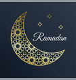 golden arabic ornamental moon with stars ramadan vector image vector image