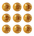 golden cryptocurrency coins set vector image vector image