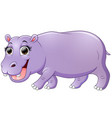 happy hippo cartoon walking vector image