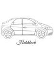 hatchback car body type outline vector image vector image
