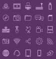 Hi tech line icons on violet background vector image vector image