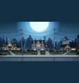 houses night view suburb of big city cottage real vector image