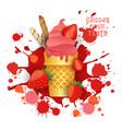 ice cream strawberry cone colorful dessert icon vector image