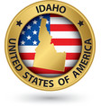 Idaho state gold label with state map vector image