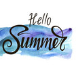 inscription hello summer on a beautiful watercolor vector image vector image