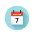 january 7 flat daily calendar icon date vector image vector image
