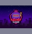 love game neon sign casino slot machines vector image