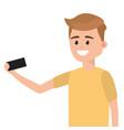 man using smartphone for selfie vector image