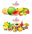 mountain exotic fruits on white background vector image