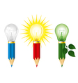 pencils and light bulbs vector image