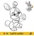 rabbit colors an easter egg coloring vector image