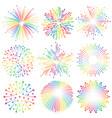rainbow fireworks set vector image