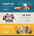 rap music 3 flat banners vector image vector image