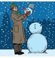 Retro man and snowman vector image vector image