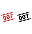 scratched textured and clean 007 stamp prints vector image vector image
