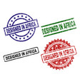 scratched textured designed in africa seal stamps vector image