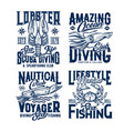 scuba diving and sea fishing club t-shirt prints vector image vector image